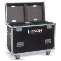 Dual Road Case for Giotto 400, 4 casters, stackable wheel wells & accessory compartment