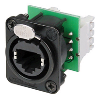 Neutrik NE8FDV-Y110-B Receptacle etherCON CAT5 D Series - 110 punchdown-Blk - w/screws