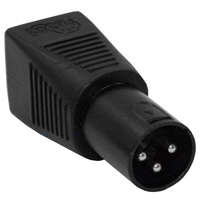 RJ45 CAT5 to DMX XLR 3 Pin Male Adaptor - Molded Black