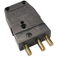 Stage 3-Pin Bates 20A 125v Inline Male Black