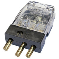 Stage 3-Pin Bates 20A 125v Inline Male Clear