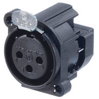 Neutrik NC3FAY XLR Rear Panel Mount Chassis Receptacle A Series 3 pin Female - IDC, wire range (AWG 24-26) - all plastic