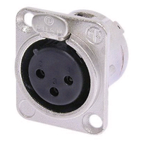 Neutrik NC3FD-L-1 XLR Receptacle DL1 Series 3 pin Female - solder cups- nickel/silver