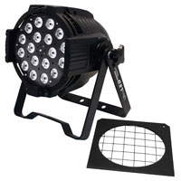 FlexiLED TriColor RGB 18 x 3 watt fixture, 25 degrees, DMX - with frame, Black 120/240vAC