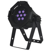 FlexiLED Mini 7 x 1w UV LED, DMX - with frame, Black