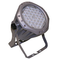 UltraLED LEDpar Outdoor RGB 36 x 1 watt fixture, 15 degrees, DMX with dual yoke, Silver 80-250vAC