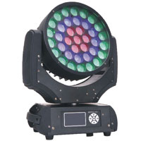 VectorLED 37 Quad 10w RGBW Wash Moving Light with ZOOM  - 90-260vAC, DMX512 3&5pin XLR in/out - Black
