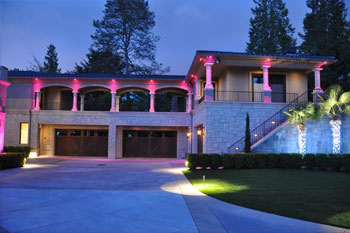 garage exterior at night of Mercer Island Residence using Pulsar ChromaBump MR16 LED architectural lighting