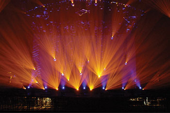 stage using 46 SGM Giotto 400 Spot CMY moving head lights during band Coldplay's Twisted Logic World Tour, United Kingdom_3