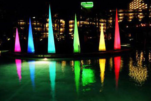 Airstar America LED cones installation at an Orlando, Florida resort