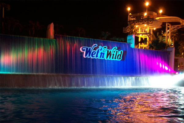 vibrant LEDs from SGM  on the wave pool waterfall for the Hot Summer Nights Photo Shoot at Wet 'n Wild, Orlando, Florida