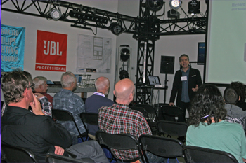 guests in showroom listening to seminar Protecting The Stage by guest speaker Richard Cadena, ETCP RT/CE