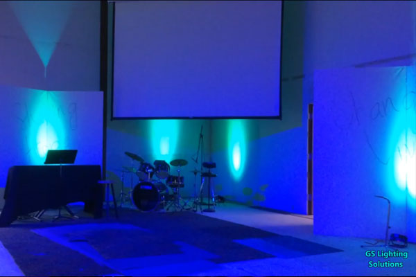 Calvary Baptist Church stage lighting, Ellensburg, WA, USA