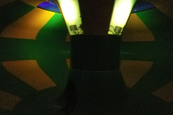 Interior close-up of a white LED light fixtures in water slide at Parrot Cove Indoor Water Park, Garden City, Kansas