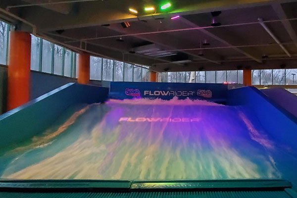 Indoor/outdoor rated interior LED lights on FlowRider Surf Machine, 