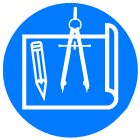 Design support icon blue circle