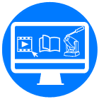 online videos, library and repair icon blue circle