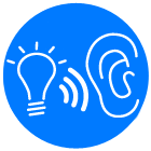 We listen ear and discuss your ideas light bulb icon blue circle