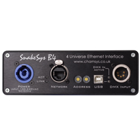 SnakeSys B4 Four Universe Ethernet to DMX512 Box - 1 Network port to 4xDMX Outputs, 1xDMX Input, POE or auto voltage AC input
