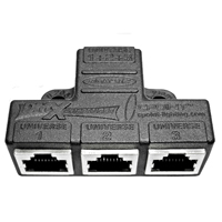 DMXCOMPANDER RJ45 CAT5 3 to 1, 1 to 3 Adaptor - Molded Black