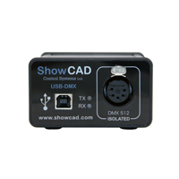 ShowCAD Artist DMX512 Output USB 5 pin box with cable, and 5 to 3 pin adaptor