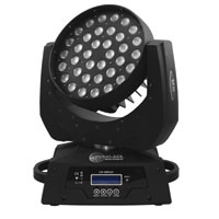VectorLED 36 Quad 10w RGBW Wash Moving Light with ZOOM  - 90-260vAC, DMX512 5pin XLR in/out - Black